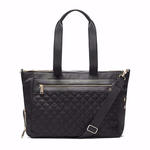 women's black quilted organiser handbag