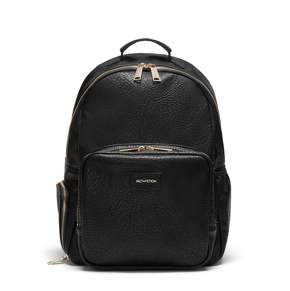 Vegan leather black backpack