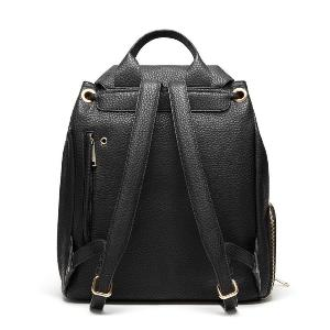 black faux leather backpack with laptop space