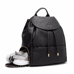 black faux leather backpack with shoe compartment