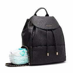 black faux leather baby changing bag with nappy compartment