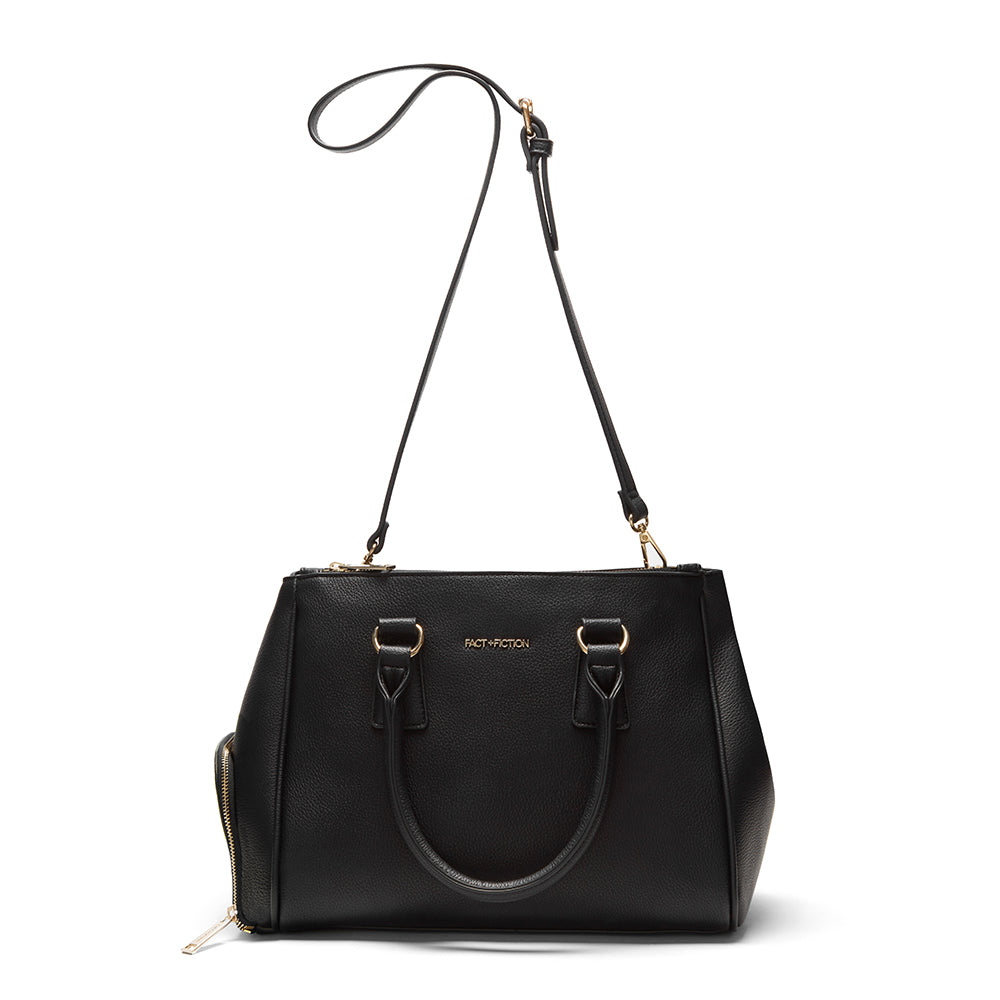 black faux leather cross body bag