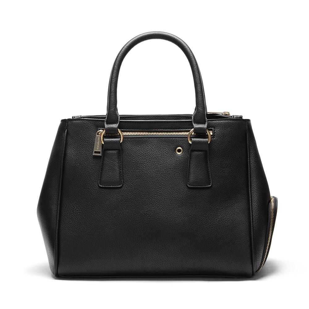 black faux leather handbag with shoe compartment