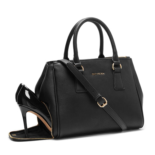 handbag with shoe compartment