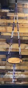 Purple, pink & tan Macrame Plant Hanger with wooden base  (#122)