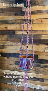 Pink macrame hanger w/hand painted clay pot (#133)
