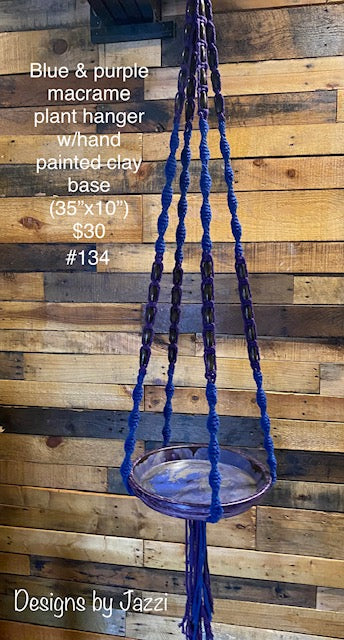Blue & purple macrame hanger w/hand painted clay base (#134)