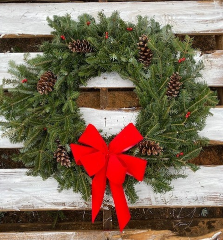"Premium Fraser Fir Wreath (26"") Shipped To Your Door"