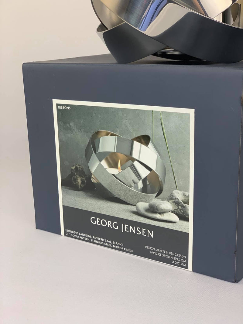 Georg Jensen 'ribbons' large silver candle holder in box