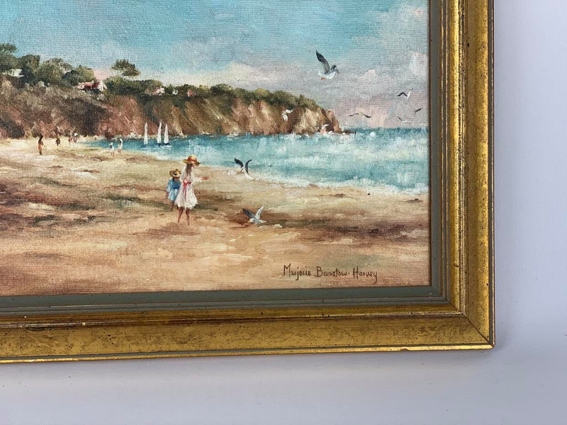 Beach scene, framed oil on canvas piece by MARJORIE BAIRSTOW HARVEY