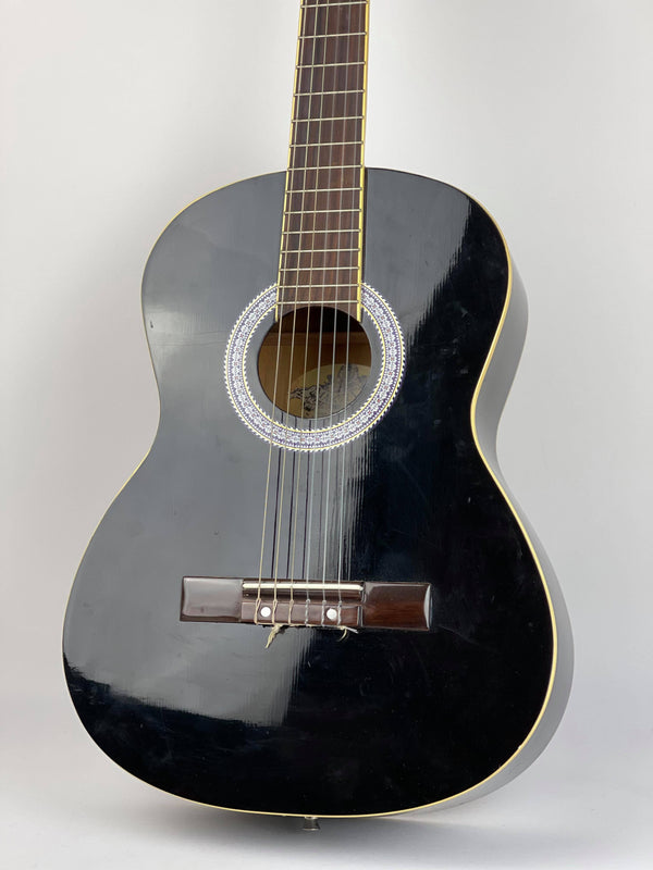 Martinez 'Slim Jim' 3/4 Size Beginner Slim Neck Classical Guitar Pack with Built-In Tuner (Black)