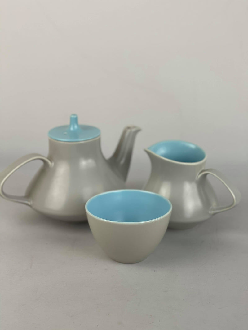 Poole Pottery, twintone blue and grey English tea set