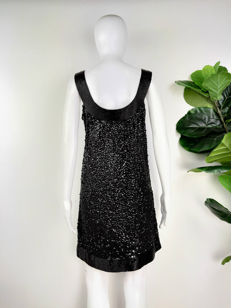 Rachel Gilbert Black Sequinned Dress (Size 1)