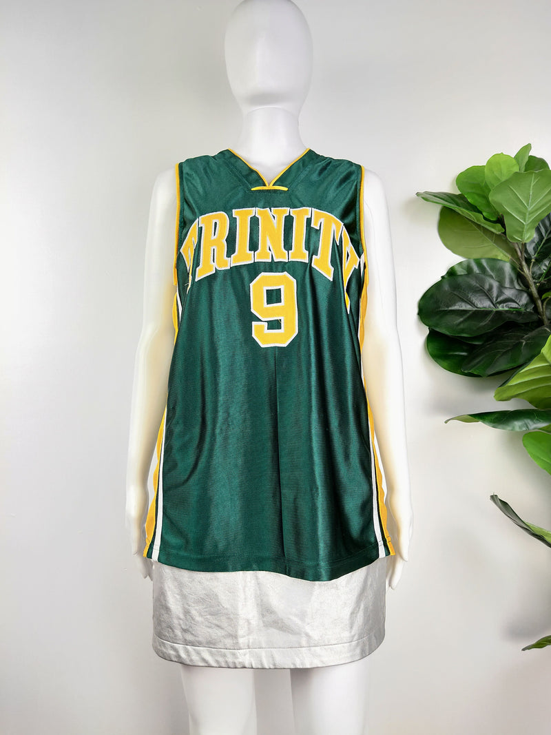 Trinity green and yellow basketball jersey (Size Medium)