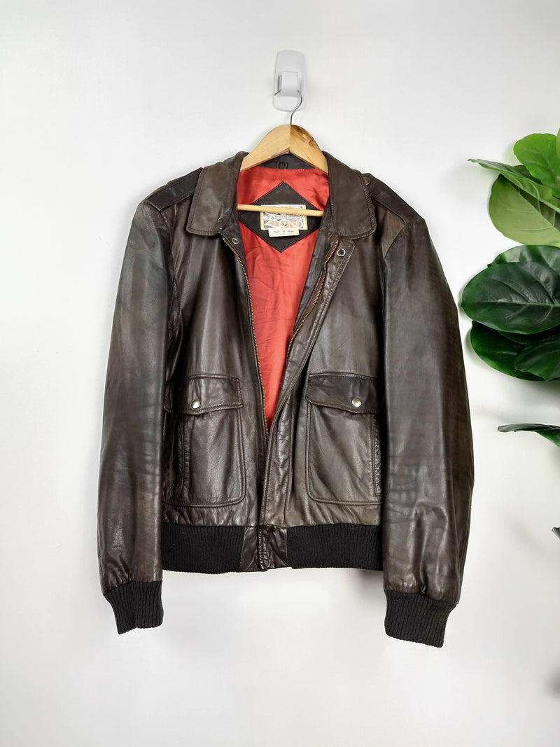Pardners brown leather mens jacket (Size Large)