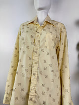 Vintage Top Man Yellow Button Up Shirt (Size XL)