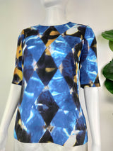 Saba blue watery graphic top (size 8 AU)
