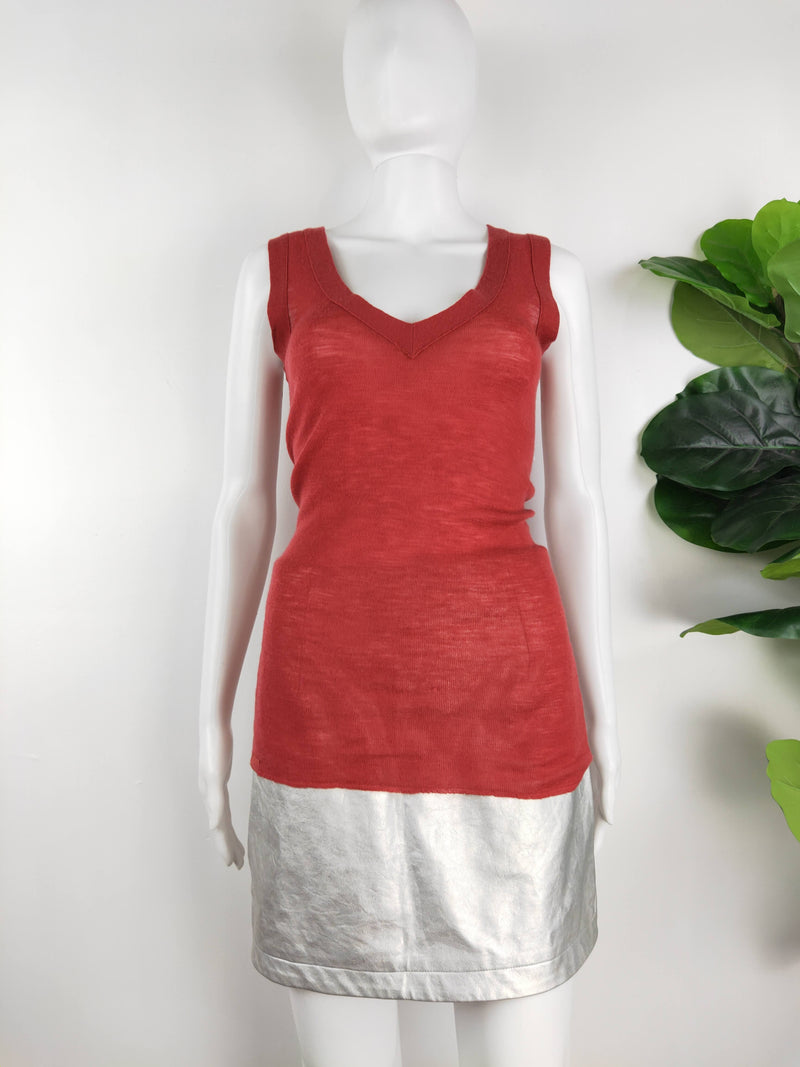 Scanlan Theodore red wool knit singlet (size small)