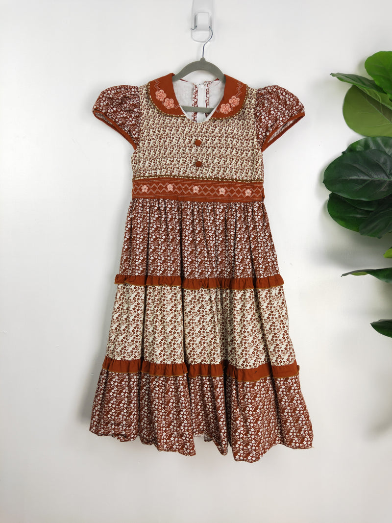 Brown cotton cottage dress (age 10-12)