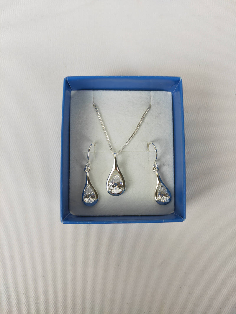 Proud's The Jewellers Silver & Crystal Earring & Necklace Set