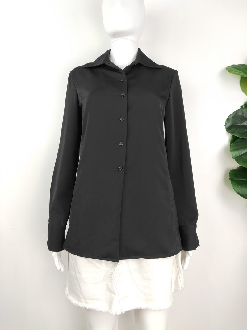 Armani Exchange black button up top (size xs)