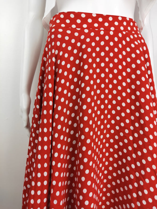 Wheels & Dollbaby red polka dot circle skirt (size 8 AU)