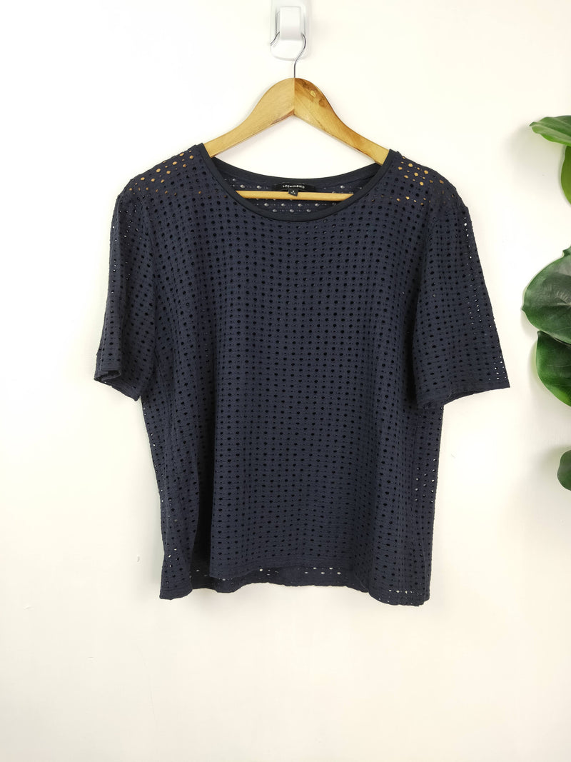 Life with Bird navy mesh t shirt (size 3)