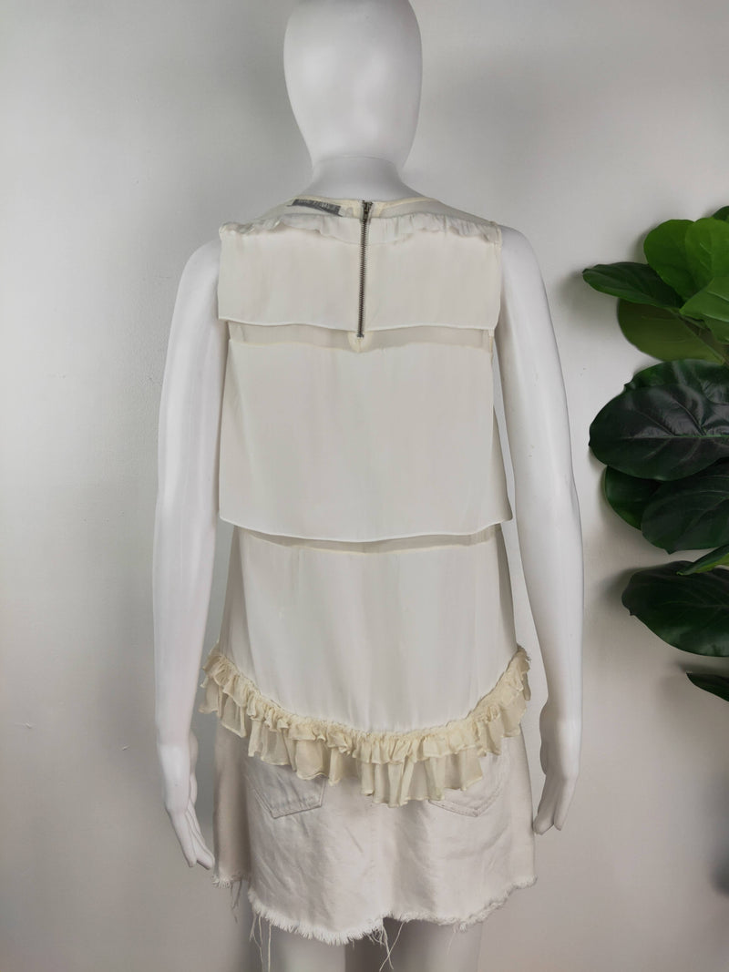 Elizabeth and James white ruffle trim top (size 6-8 AU)