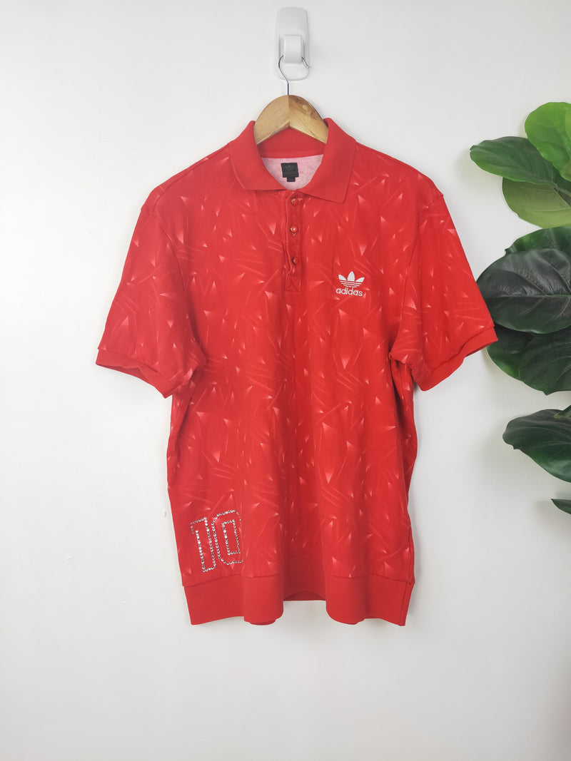 Adidas vintage red rhinestoned top (size large)