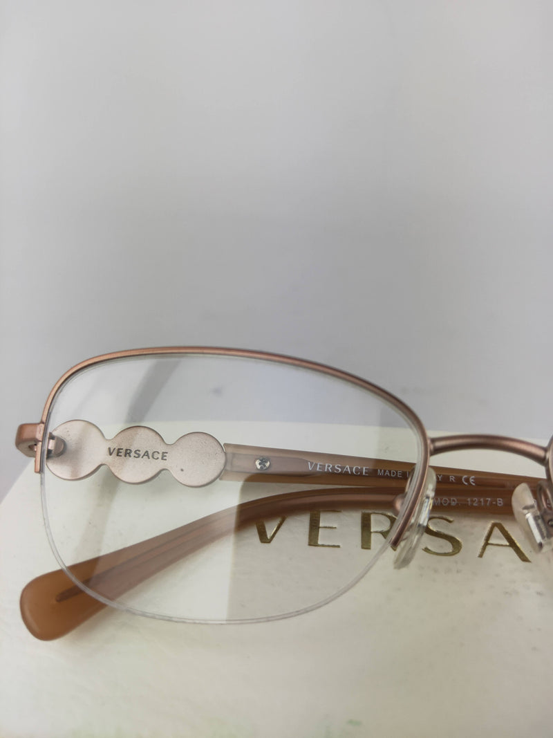 Versace light brown half rim eyeglasses