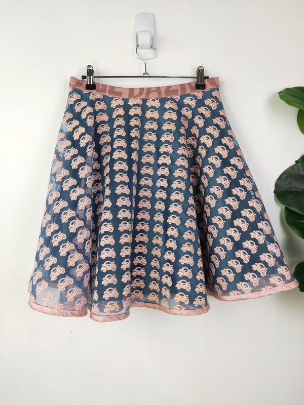 Dazzle pink & blue mesh car skirt (size small)
