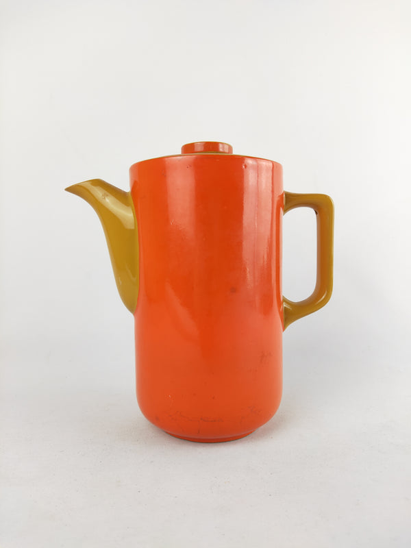 Vintage orange Japanese ceramic teapot
