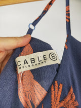 Cable Melbourne blue & orange hummingbird dress (size small)
