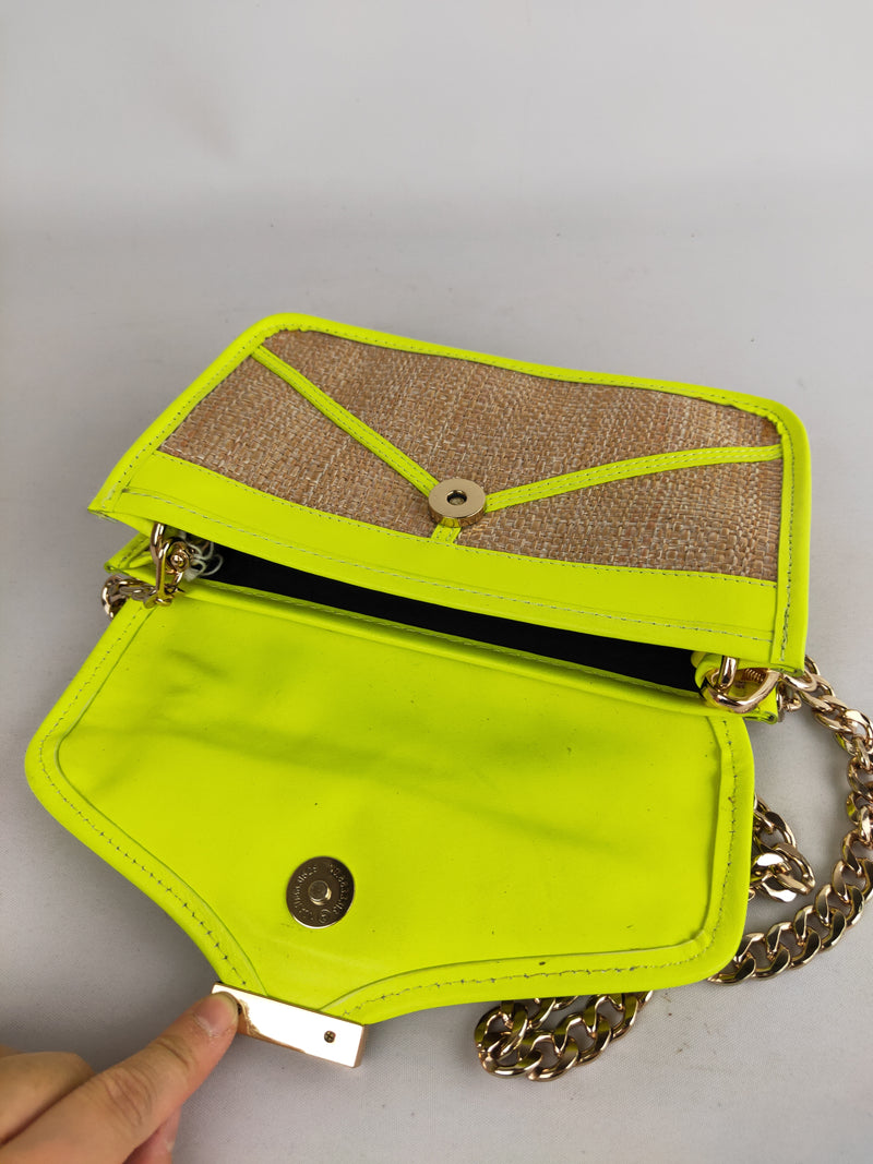 Gorman straw & neon lime trim shoulder bag