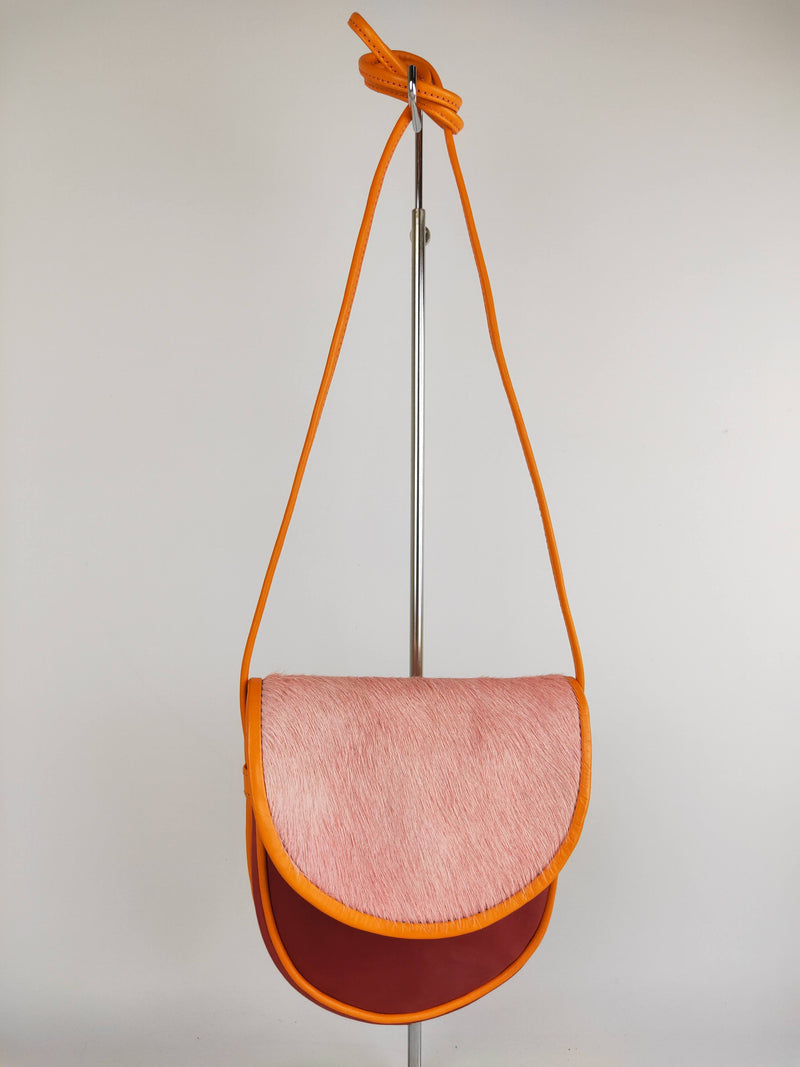Gorman pink & red leather & hide mini shoulder bag