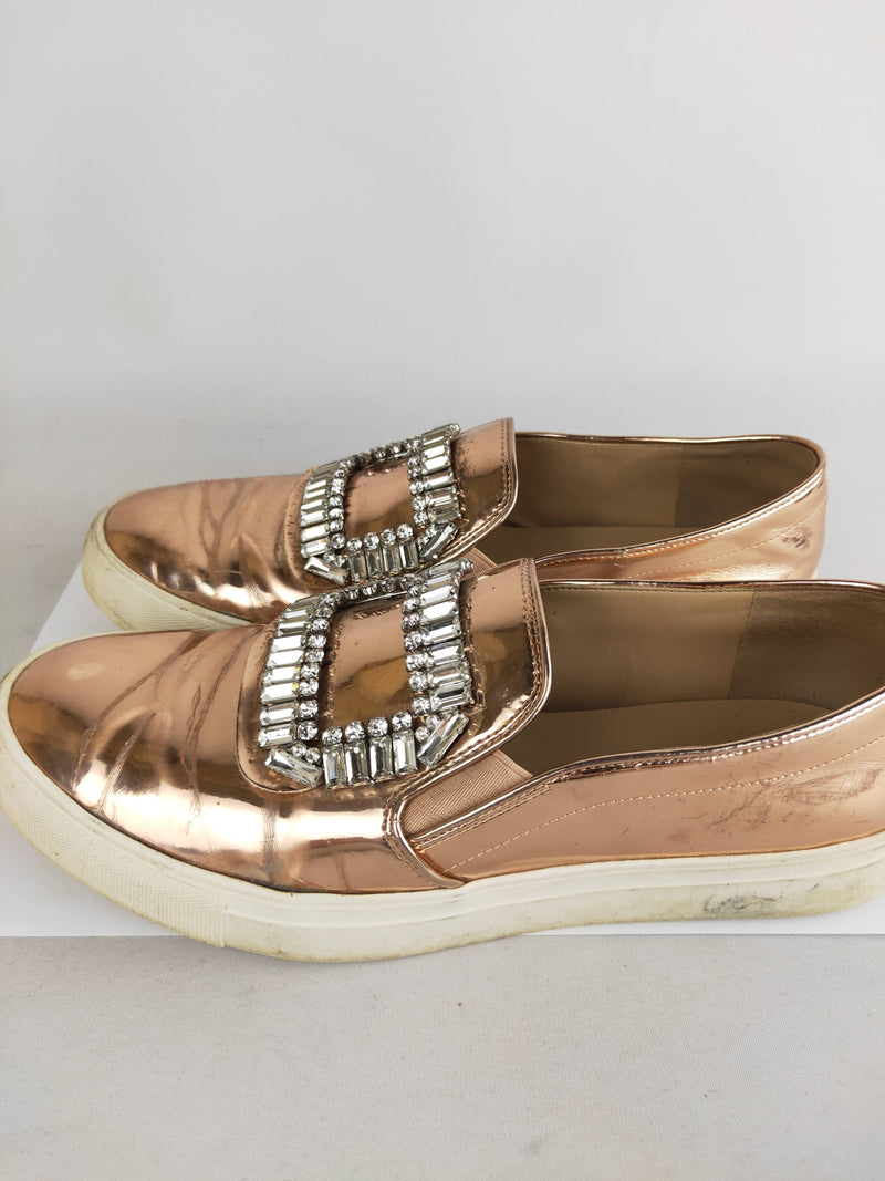 Karl Lagerfeld Paris rose gold rhinestone sneakers (size 39 EU)