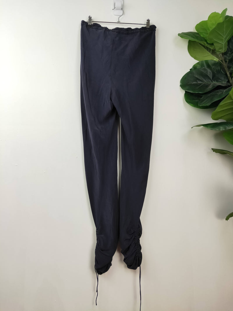 Megan Park navy silk ruched pants (size 12 AU)