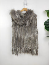nicholas grey rabbit fur hooded vest (size 8-10 AU)