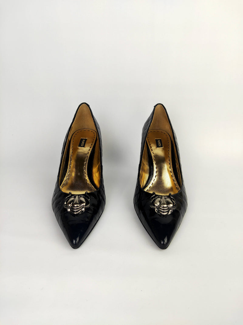 Mimco Black and Gold Leather Heels - EU 41