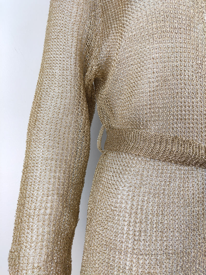 Mimma Priolo gold mesh long cardigan (size small-medium)