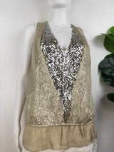 Robbi & Nikki beige & silver sequin silk top (size small)