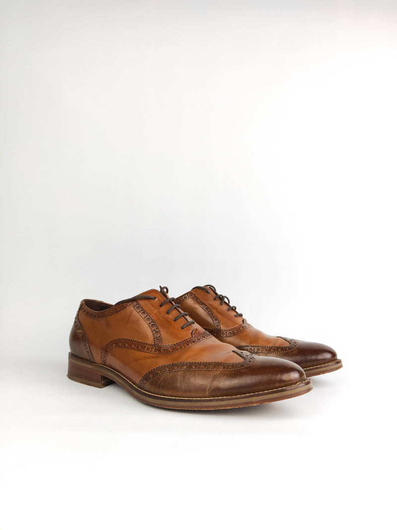 Cole Haan Brown Leather Lace-Up Brogues - US 12