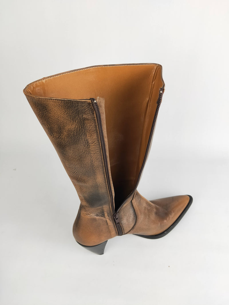 Vera Gomma Brown Leather Boots - EU 37
