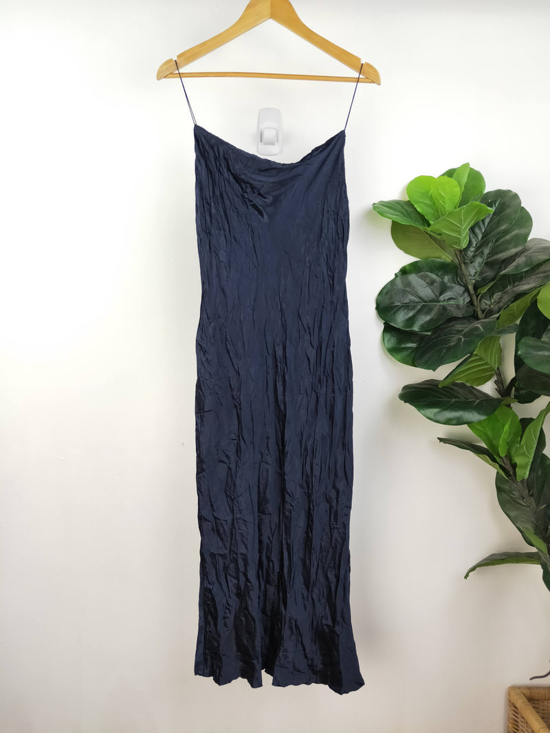 Bec + Bridge navy crushed satin slip dress (size 12 AU)