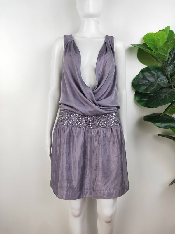 Zadig & Voltaireluxe purple satin dress (size small)