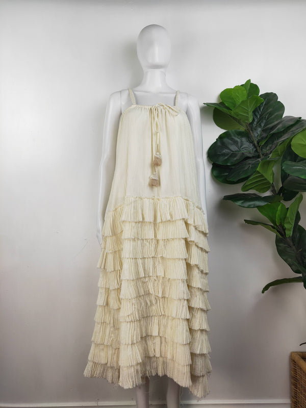 Crazy In Life Artka white frilly tiered dress (size medium)