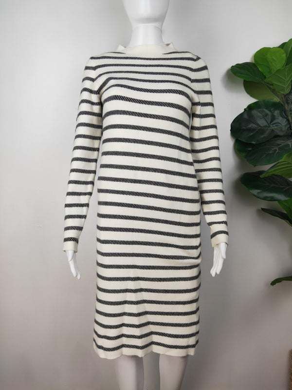 Ripe Black and White Striped Wool Sweater Dress
