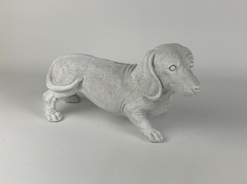 White Sausage Dog Money Bank