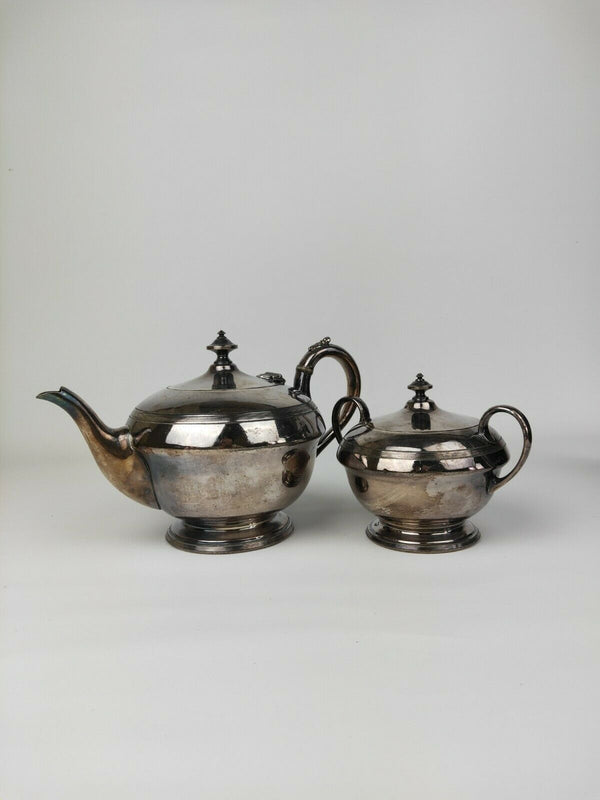 James Dixon Sons Sheffield Silver Teapot And Sugar Jar Set