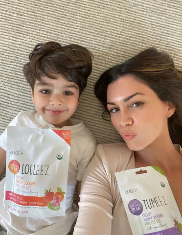 El Abad and Son with Lolleez Organic Throat Soothing Pops by Momeez Choice and Tumeez Organic Tummy Soothing Pops by Momeez Choice